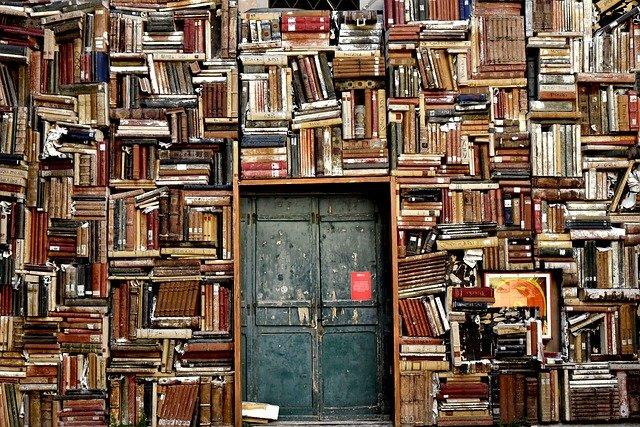 stěna plná knih