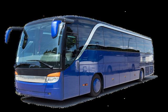 modrý moderní autobus