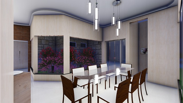 moderní budova uvnitř stůl a židle, v pozadí rostliny, závěsná světla