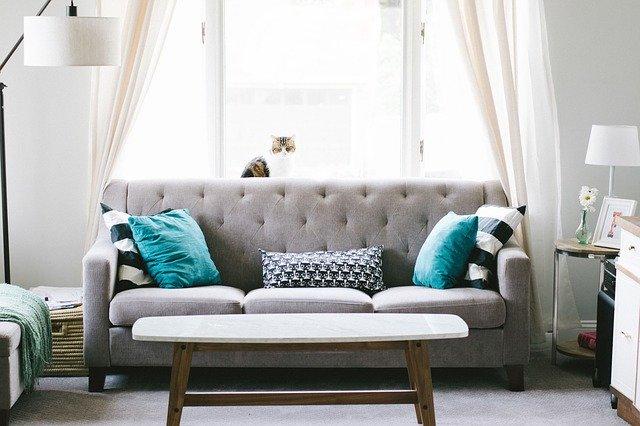 světlý obývací pokoj s pohovkou u okna
